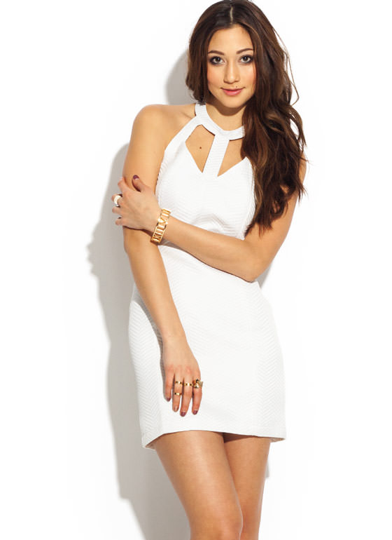 Strappy Herringbone Halter Dress WHITE