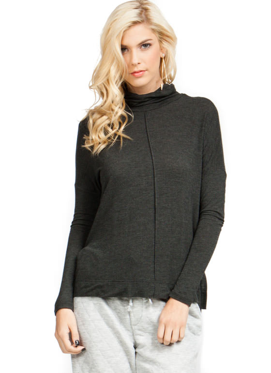 Slouchy Turtleneck Top CHARCOAL