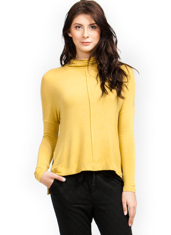 Slouchy Turtleneck Top MUSTARD