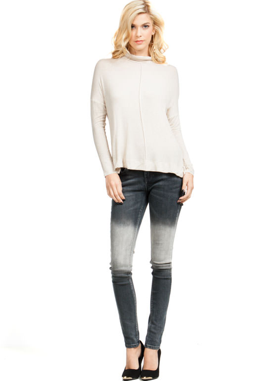 Slouchy Turtleneck Top NATURAL
