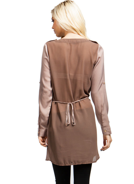 Safari Trip Tunic Top TAUPE