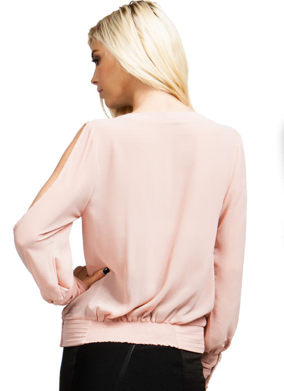 Surplice Pintuck Top BLUSH