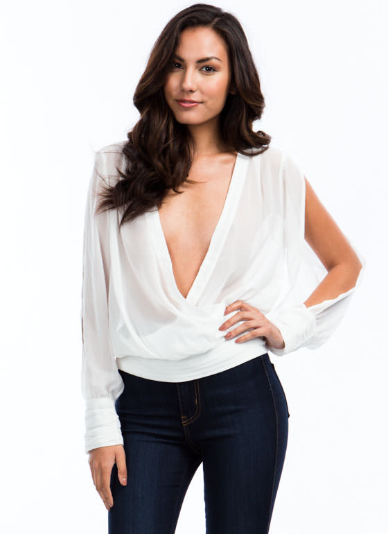 Surplice Pintuck Top WHITE