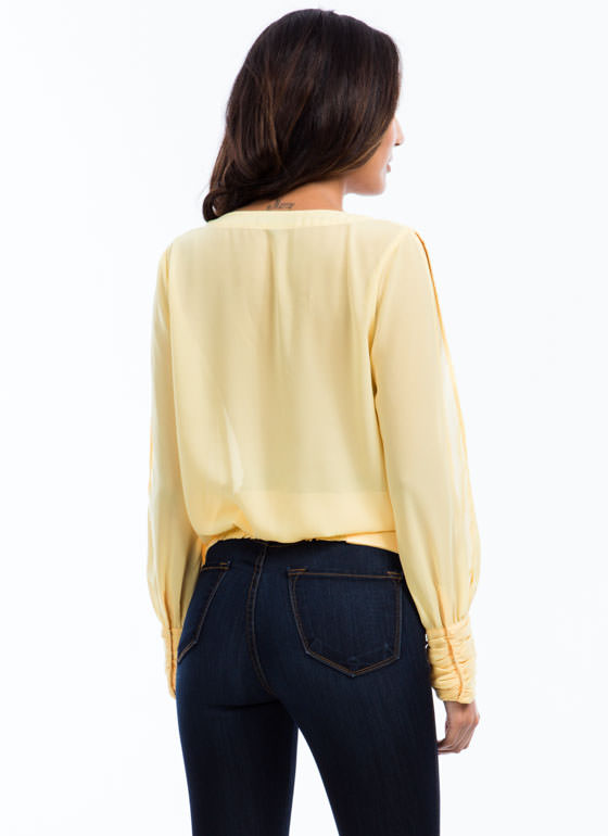 Surplice Pintuck Top YELLOW