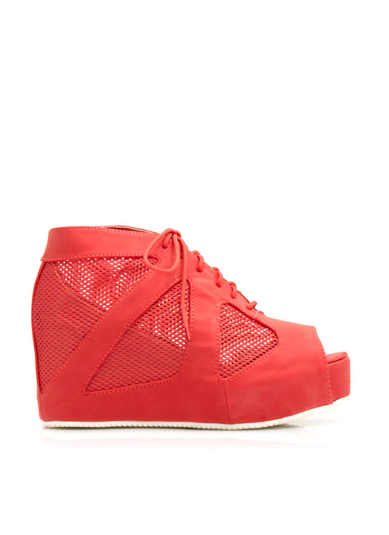 Mesh Inset Peep-Toe Wedges BLOODORANGE