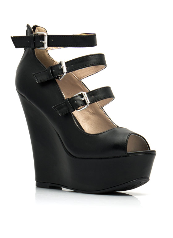 Triple Mary Jane Wedges BLACK