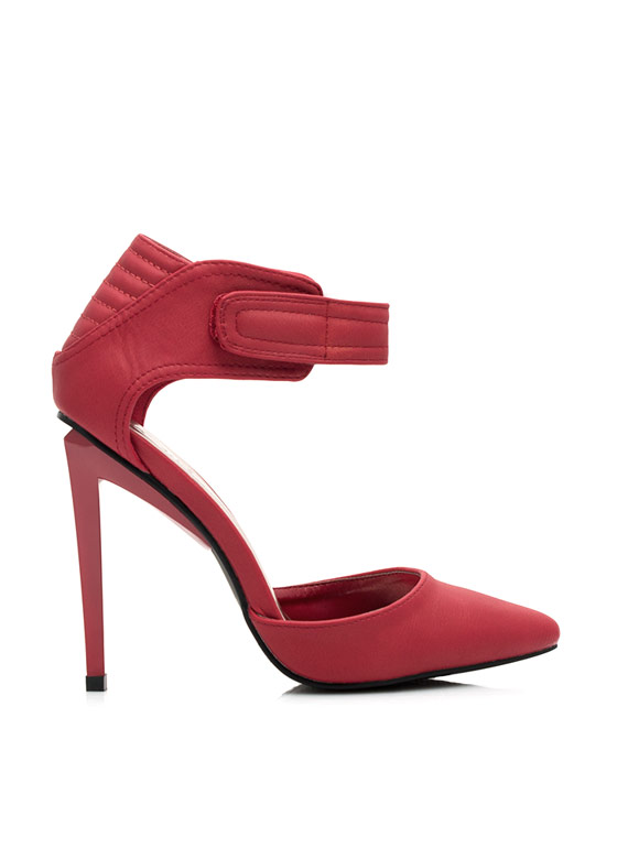 Moto Inset Single-Sole Heels RED