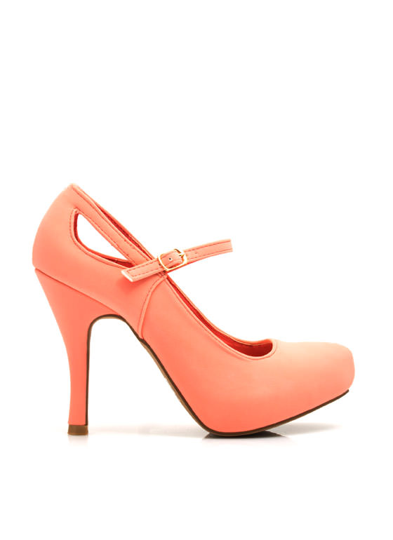 Make The Cut Mary Jane Heels SALMON