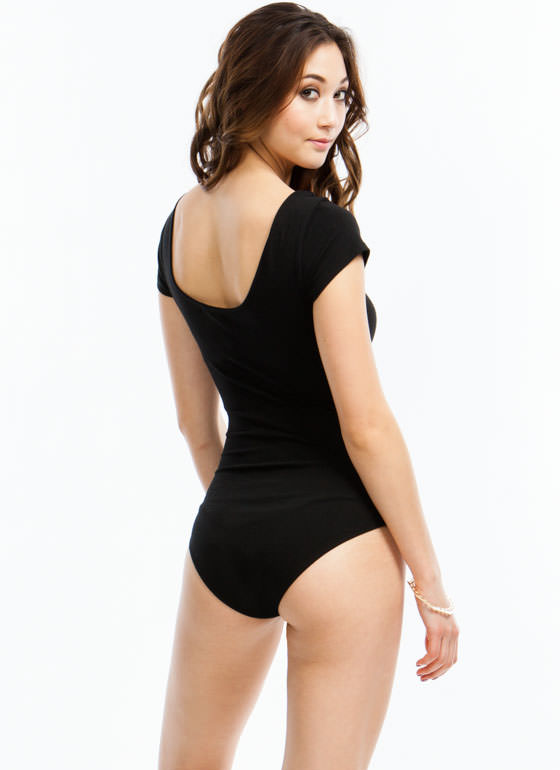 Close Fit Short-Sleeved Bodysuit BLACK