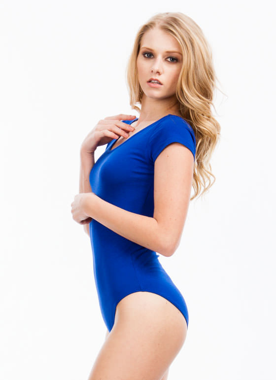 Close Fit Short-Sleeved Bodysuit ROYAL