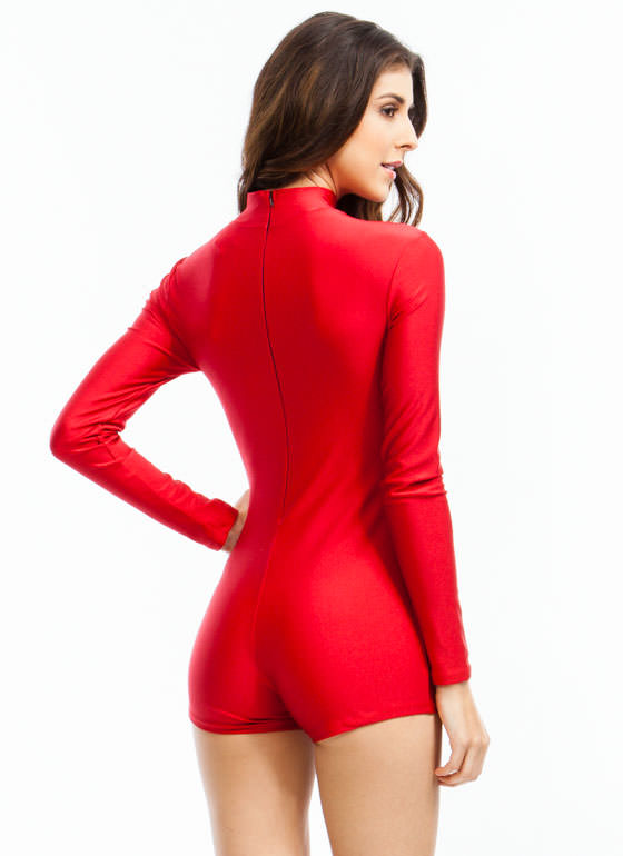 Single Lady Mockneck Romper RED