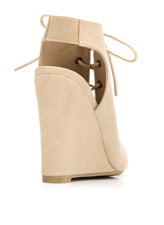 Corset Lace-Up Bootie Wedges NATURAL