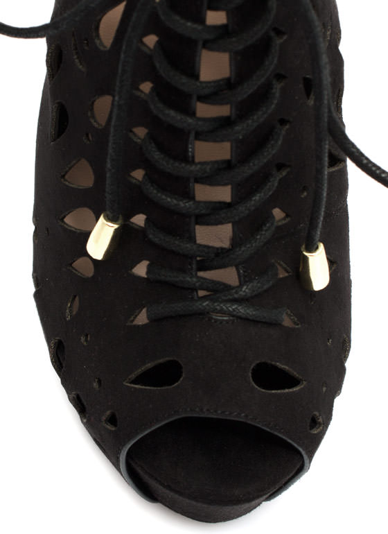 Laser Cut Lace-Up Booties BLACK