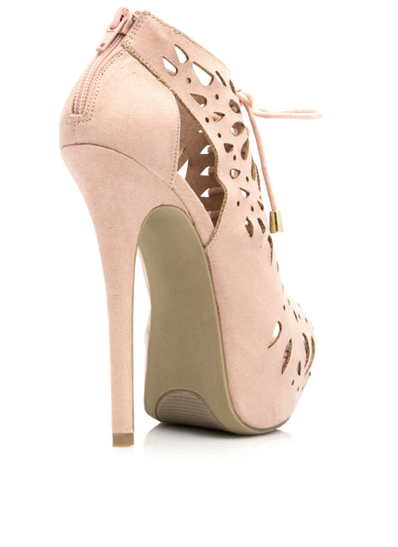 Laser Cut Lace-Up Booties NUDE