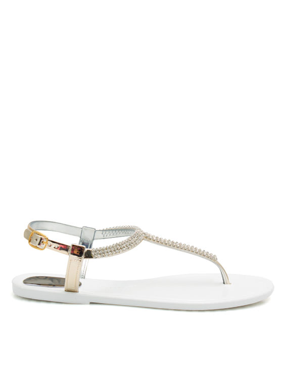 Glitz N Glimmer Jelly Sandals WHITE