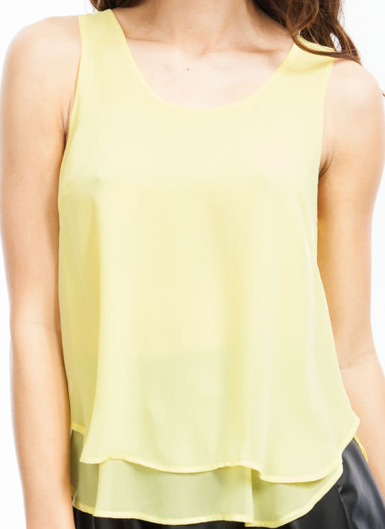All The Right Moves Layered Tank LEMON