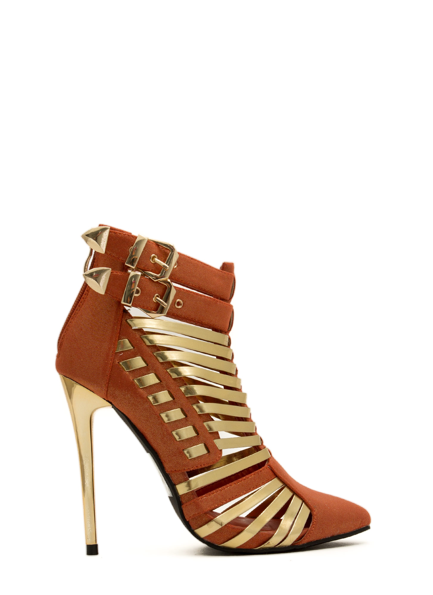 Weave It To Me Strappy Cord Booties ORANGE