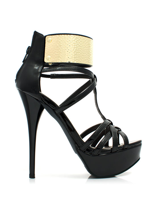 Get Hammered Strappy Ankle Cuff Heels BLACK
