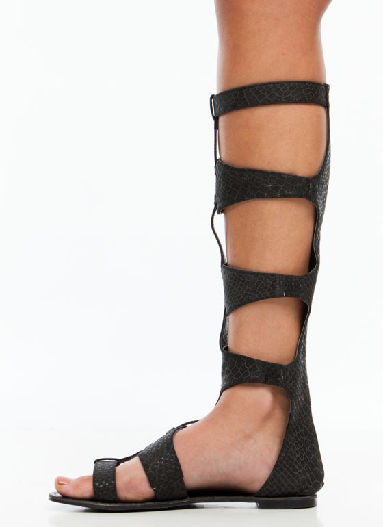 Cutthroat Reptile Gladiator Sandals BLACK