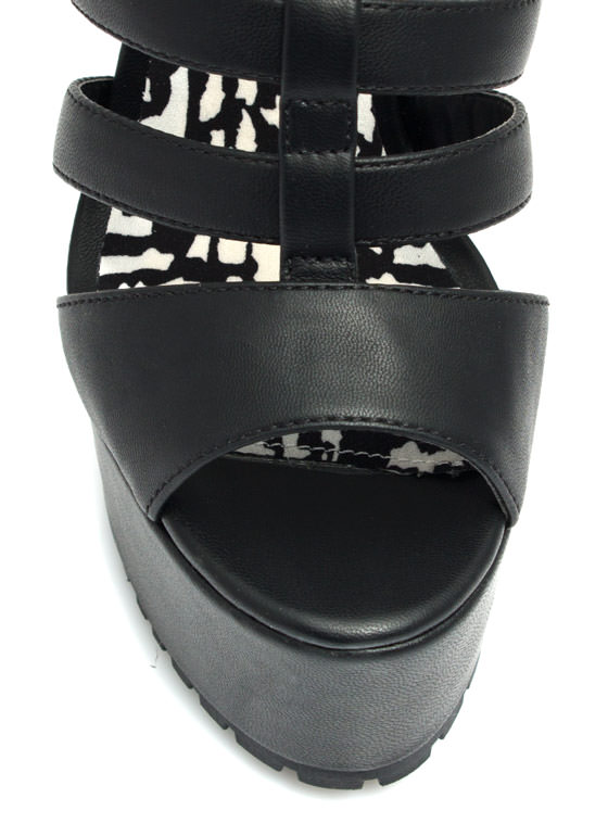 Feel A Little Quilty Strappy Platforms BLACK
