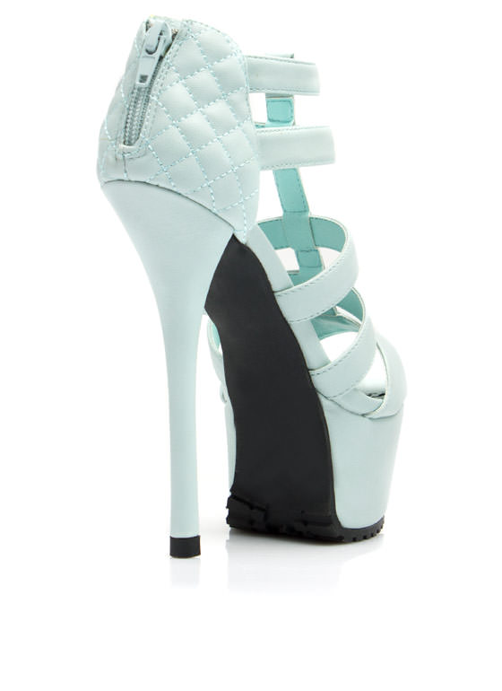 Feel A Little Quilty Strappy Platforms MENTHOL