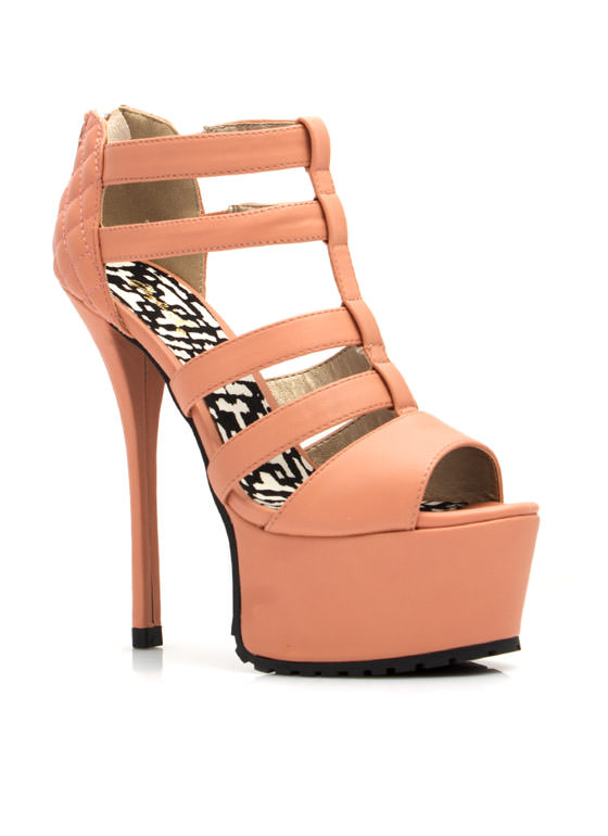 Feel A Little Quilty Strappy Platforms SALMON