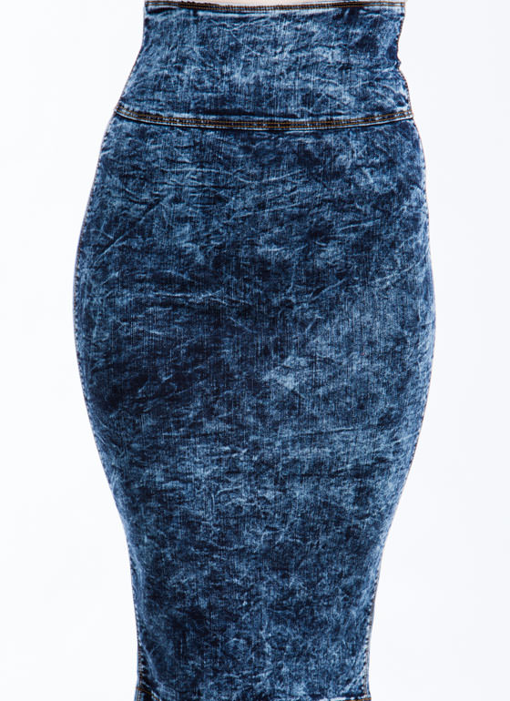 Throwback Acid Wash Pencil Skirt DKBLUE