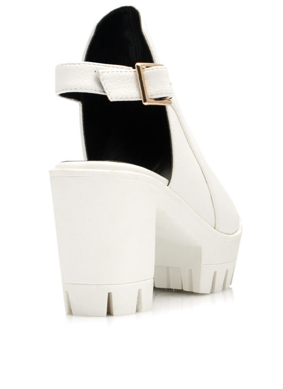 Riding Bareback Chunky Heels WHITE