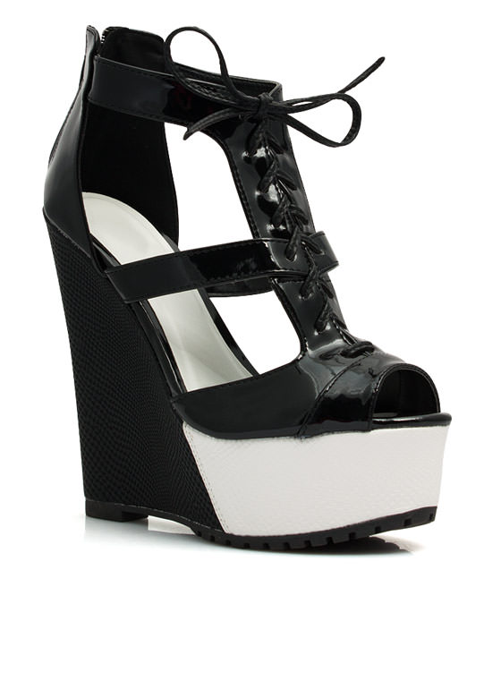 It Takes Two-Tone Lace-Up Wedges BLACK