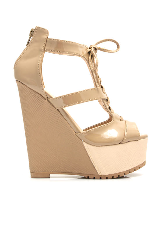 It Takes Two-Tone Lace-Up Wedges TAUPE