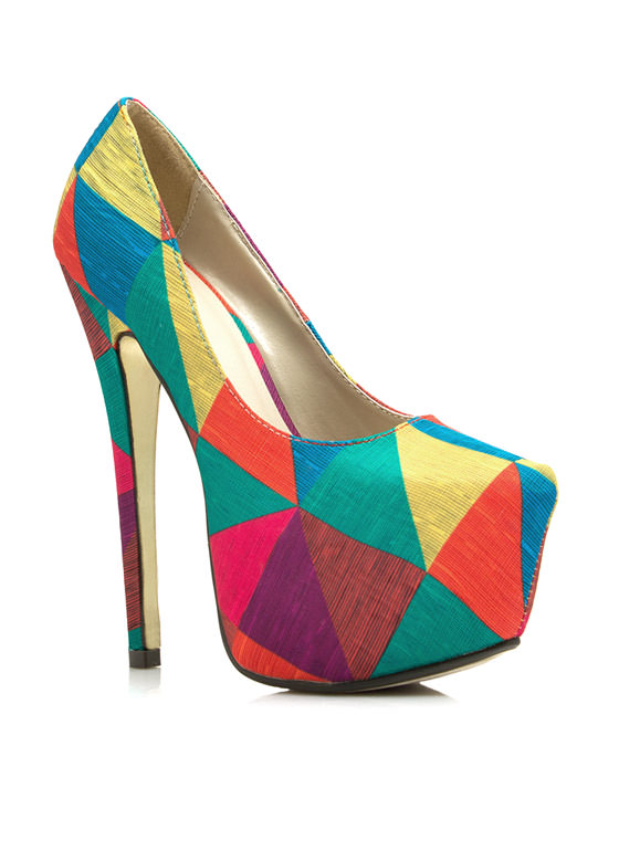 Contrasting Triangulated Platform Pumps RAINBOW