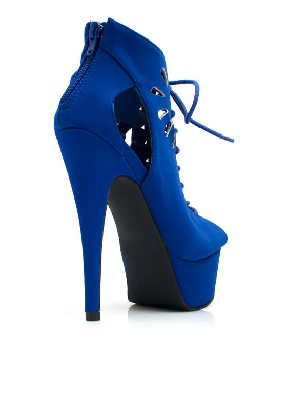 Fan Out Faux Nubuck Lace-Up Booties COBALT