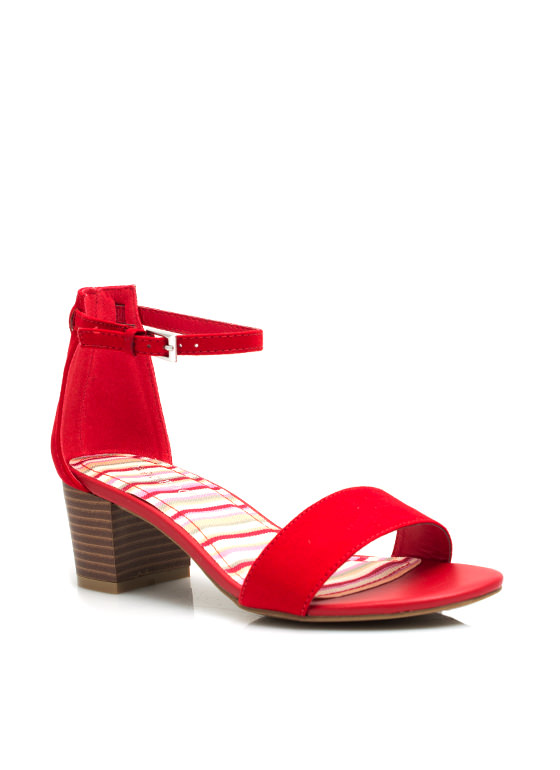 Single Girl Chunky Heels RED