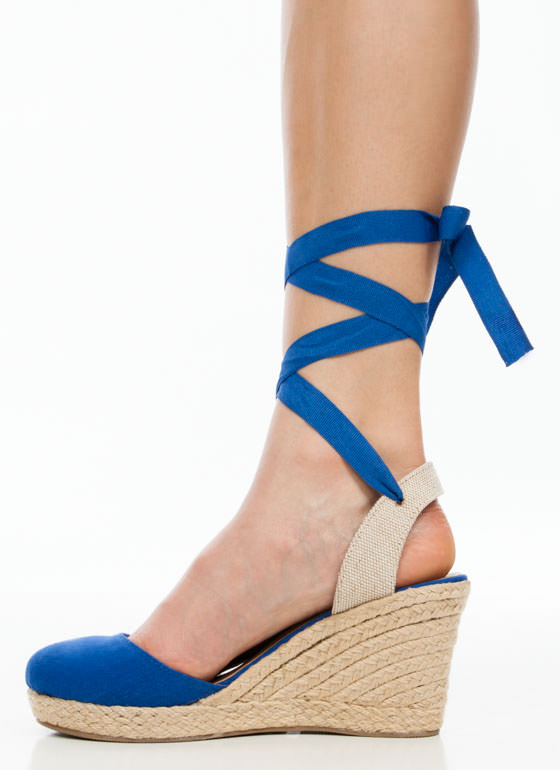 Wraparound Ribbon Espadrille Wedges NAVY