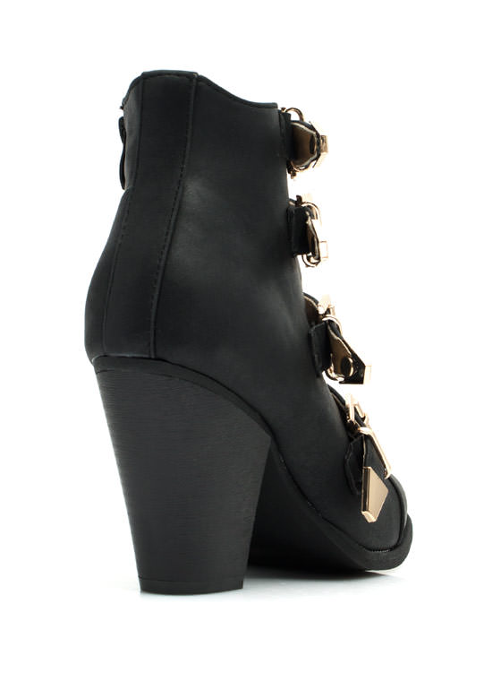 Strap-tastic Buckled Booties BLACK