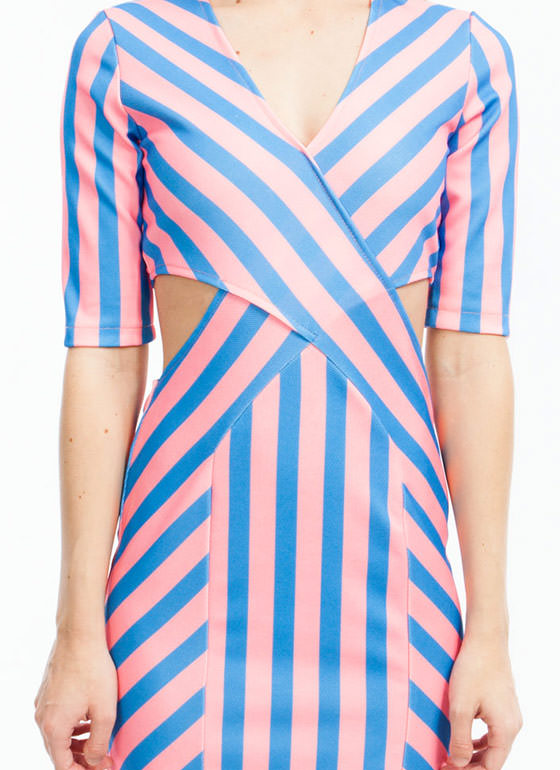 Candy Shop Cut-Out Midi Dress BLUEPINK
