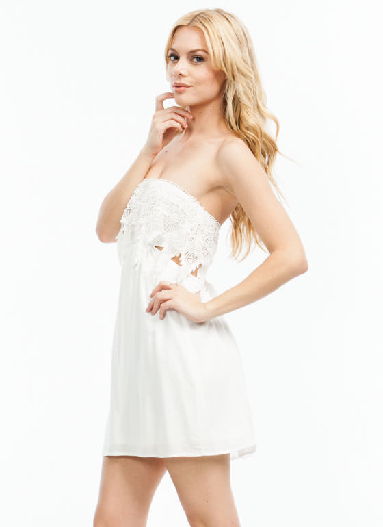 Crochet There Strapless Dress WHITE