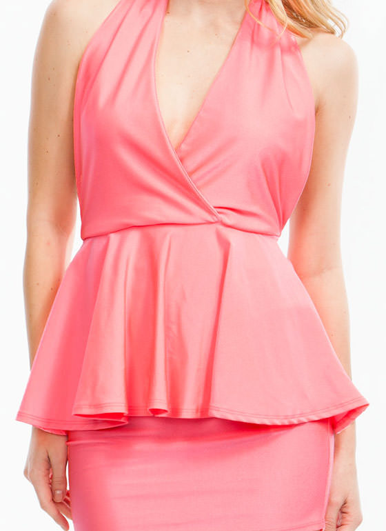 Pep-lum Talk Dress SALMON