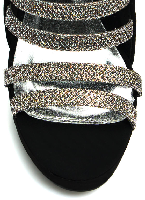 Run The World Glittery Heels PEWTER