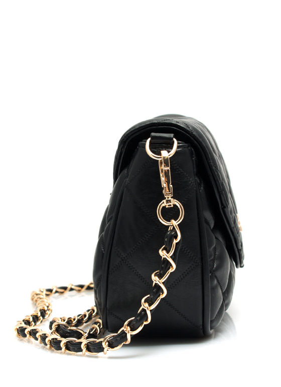 Quilted Twist Lock Bag BLACK