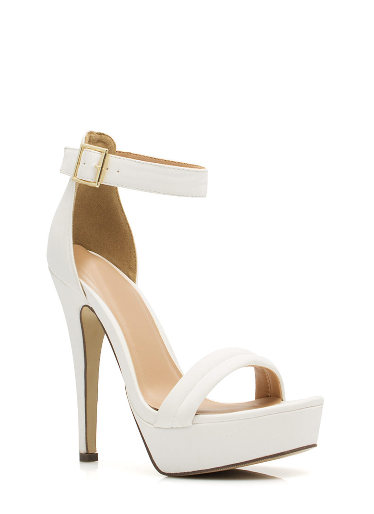 Barely There Platform Heels WHITE