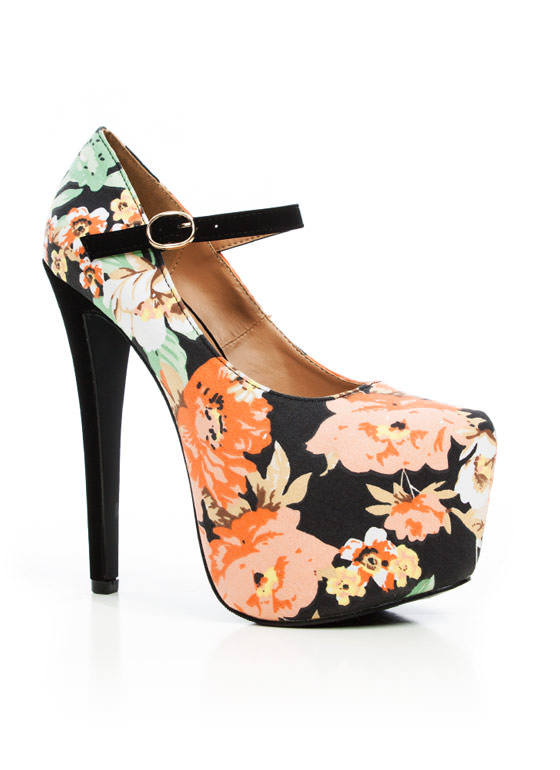Floral Paradise Mary Jane Pumps BLACK