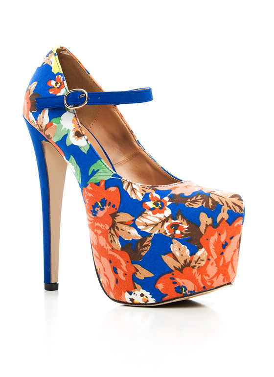 Floral Paradise Mary Jane Pumps BLUE