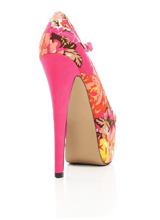 Floral Paradise Mary Jane Pumps HOTPINK