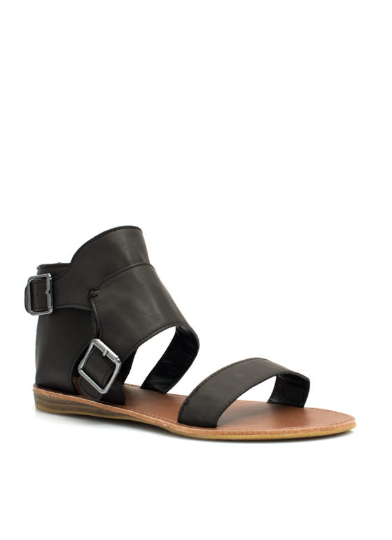 Caged Ankle Sandals BLACK