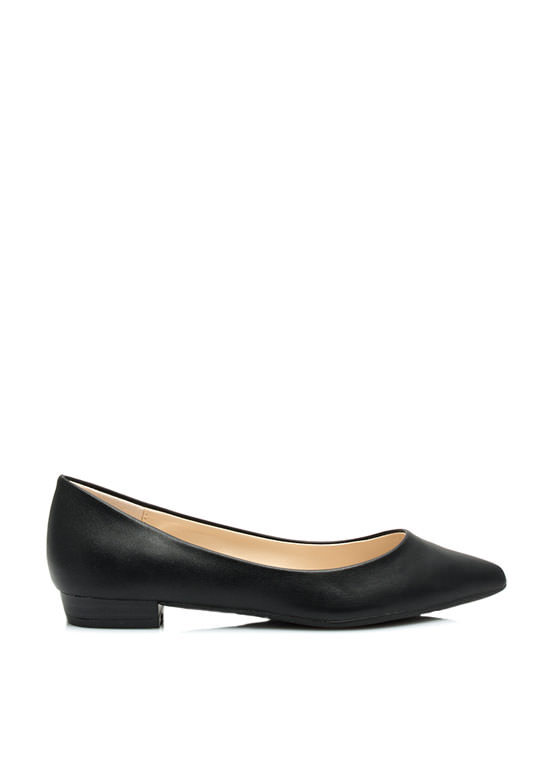Straight Basic Pointy Flats BLACK