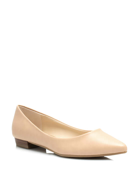 Straight Basic Pointy Flats NUDE
