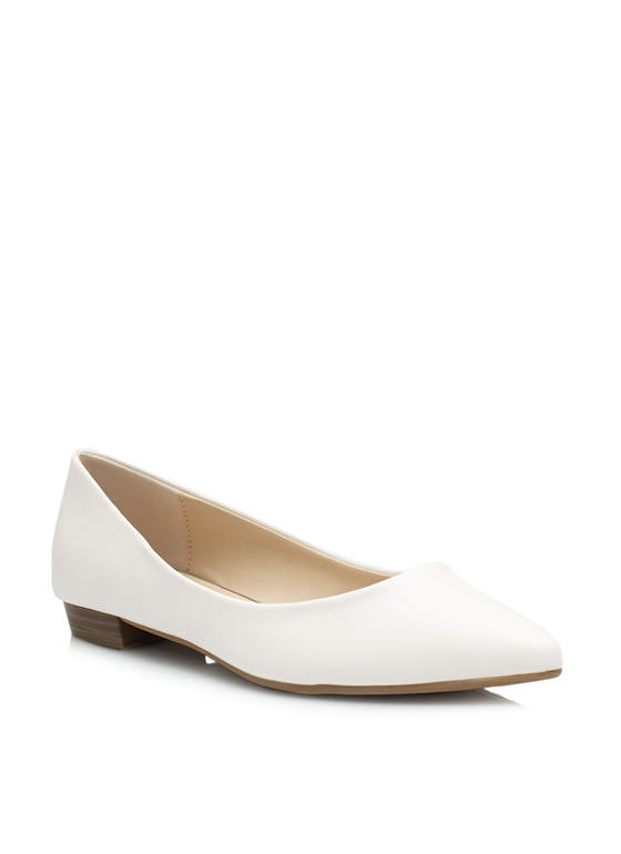 Straight Basic Pointy Flats WHITE