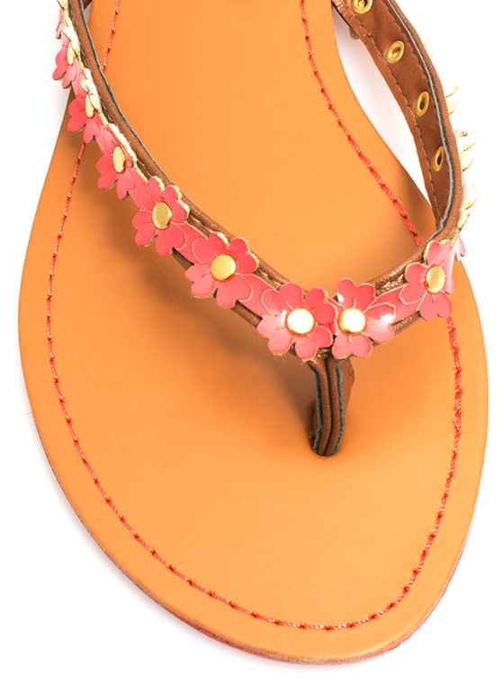 Petal to the Medal Thong Sandals CORAL