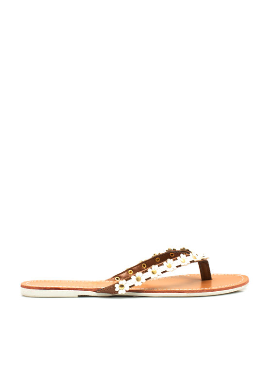 Petal to the Medal Thong Sandals WHITE